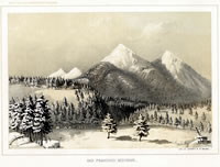 Mullhousen drawing of SF Peaks from Leroux Springs area - 1853