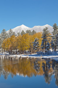 Frances Short Pond with San Francisco Peaks, along the Rio de Flag, Nov. 5, 2015, Flagstaff