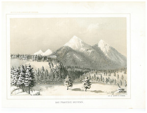 Whipple Expedtion campsite at Leroux Springs at base of San Francisco Peaks, painted by H. Balduin Mollhausen, December 1853