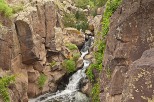 Waterfall in basalt canyon of the Rio de Flag, Picture Canyon Natural and Cultural Preserve, August 10, 2015, Flagstaff