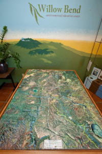 3D model of watersheds and terrain of Flagstaff area, inside the Willow Bend Environmental Education Center, Flagstaff