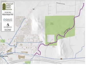 The purple dashed line shows the proposed Flagstaff Urban Trail System alignment from Old Route 66 to Townsend Winona Road. The proposed trail will pass through areas where the city and the county are working to restore the Rio de Flag riparian area.