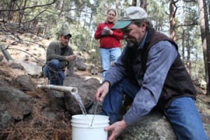 Retired Coconino National Forest engineer Shannon Clark volunteers with Friends of Rio de Flag and the Forest Service to monitor altered spring sites like Big Leroux, which the Forest Service plans to restore. (Photo courtesy Bonnie Stevens)