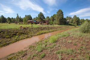 Rio de Flag flowing near Foxglenn Park, after heavy summer rains, July 26, 2013, Flagstaff, Arizona